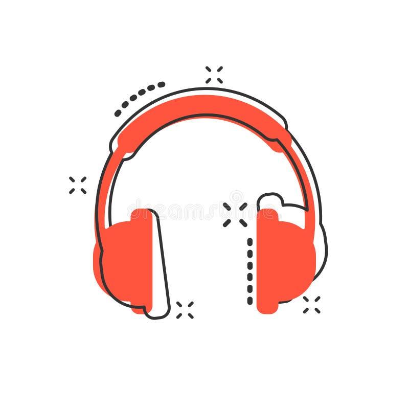 Icona della cuffia del fumetto di vettore nello stile comico Cuffia avricolare s del trasduttore auricolare illustrazione vettoriale