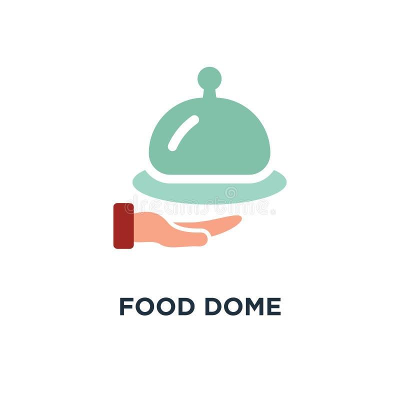 icona della cupola dell'alimento approvvigionamento, servizio dell'alimento, cameriere del ristorante servic illustrazione vettoriale