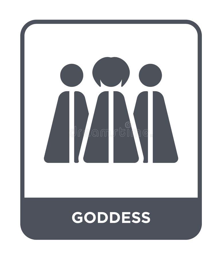 icona della dea nello stile d'avanguardia di progettazione icona della dea isolata su fondo bianco simbolo piano semplice e moder illustrazione di stock