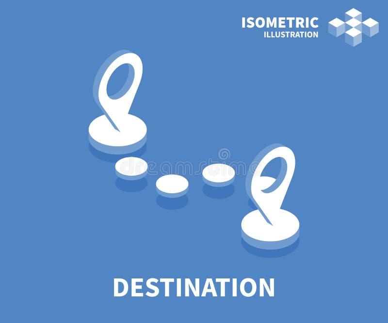 Icona della destinazione Modello isometrico per web design nello stile piano 3D Illustrazione di vettore royalty illustrazione gratis