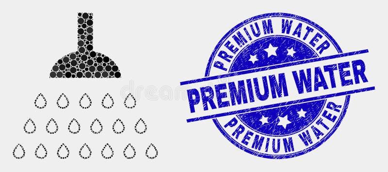 Icona della doccia punteggiata vettore e bollo premio graffiato dell'acqua royalty illustrazione gratis