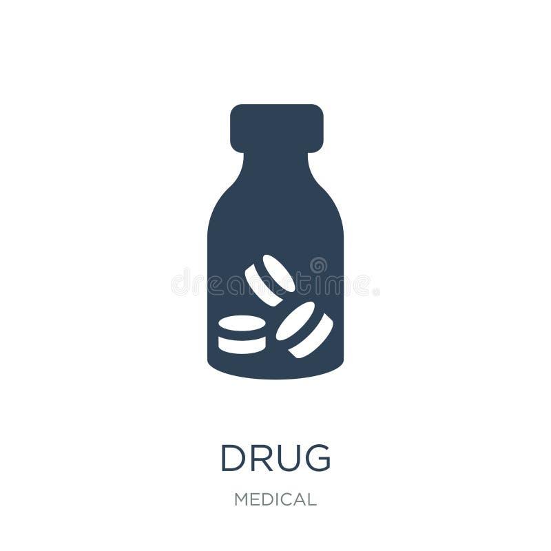 icona della droga nello stile d'avanguardia di progettazione icona della droga isolata su fondo bianco simbolo piano semplice e m illustrazione di stock