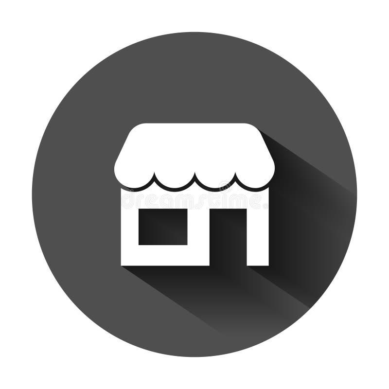 Icona della drogheria nello stile piano Illustrazione di vettore dello stabile adibito a uffici su fondo rotondo nero con ombra l royalty illustrazione gratis