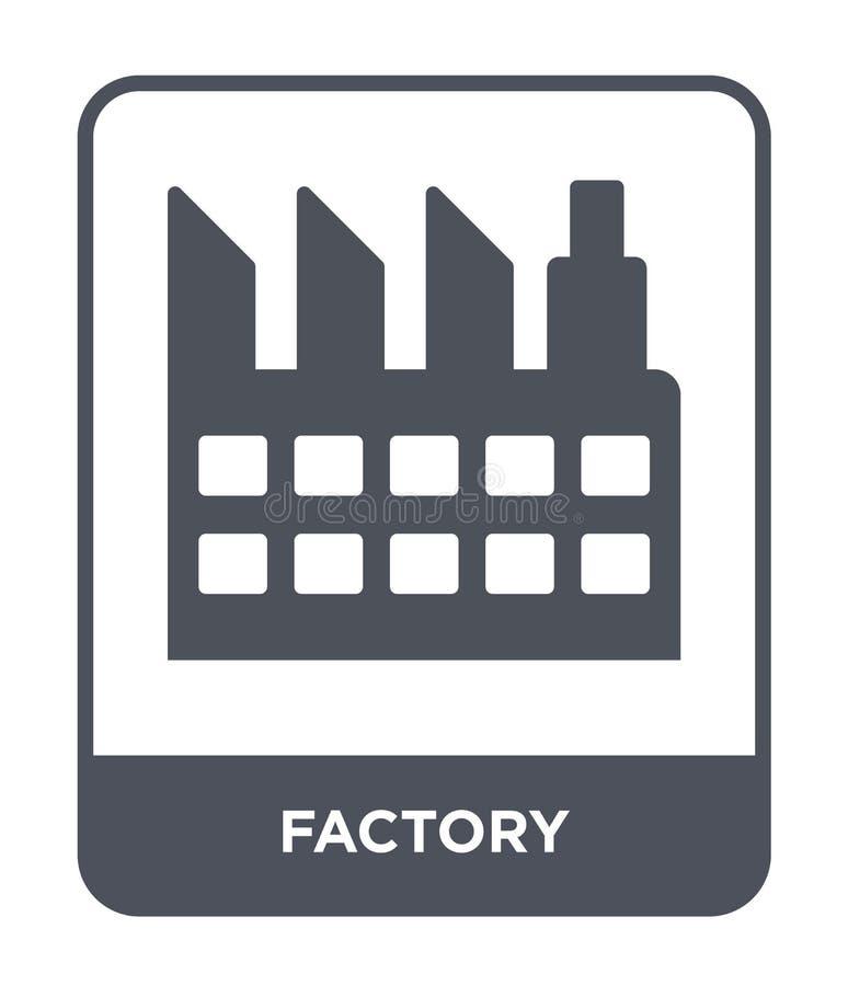 Icona della fabbrica nello stile d'avanguardia di progettazione Icona della fabbrica isolata su fondo bianco simbolo piano sempli illustrazione di stock