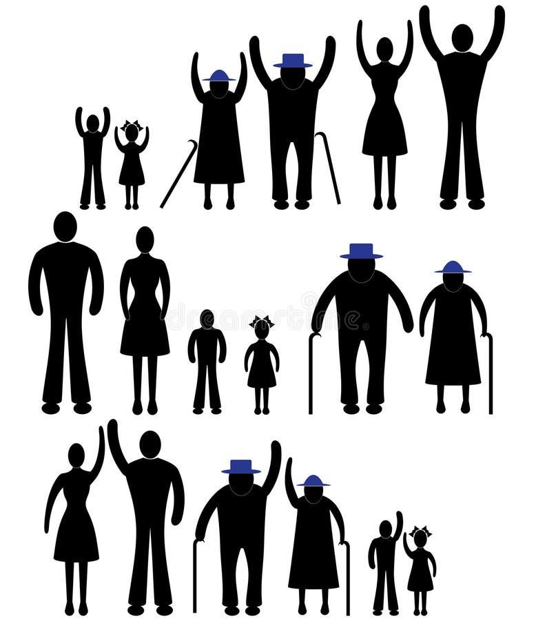 Icona della famiglia della siluetta della gente. Donna di vettore della persona, uomo. Bambino, nonno, illustrazione della generaz illustrazione vettoriale