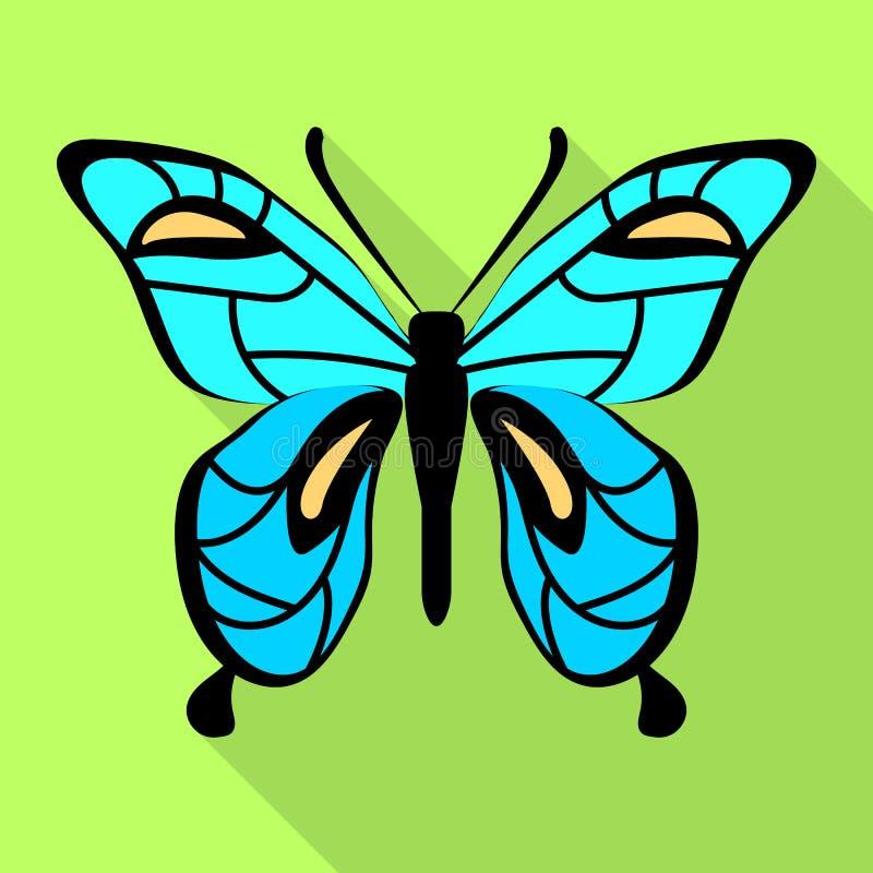 Icona della farfalla degli azzurri, stile piano illustrazione di stock