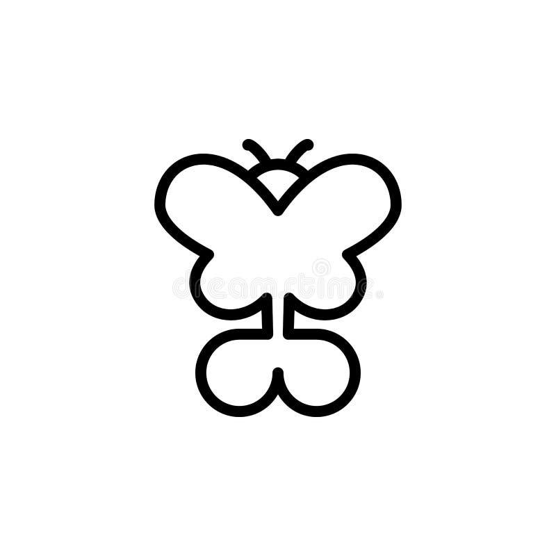 Icona della farfalla Elemento delle icone minimalistic per i apps mobili di web e di concetto Linea sottile icona per progettazio illustrazione di stock