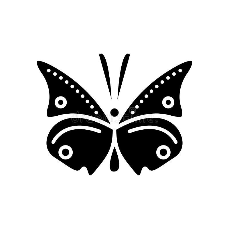 Icona della farfalla, illustrazione di vettore, segno nero su fondo isolato royalty illustrazione gratis