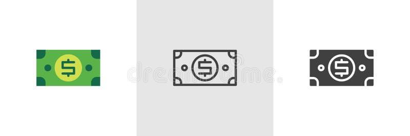 Icona della fattura di soldi del dollaro illustrazione vettoriale