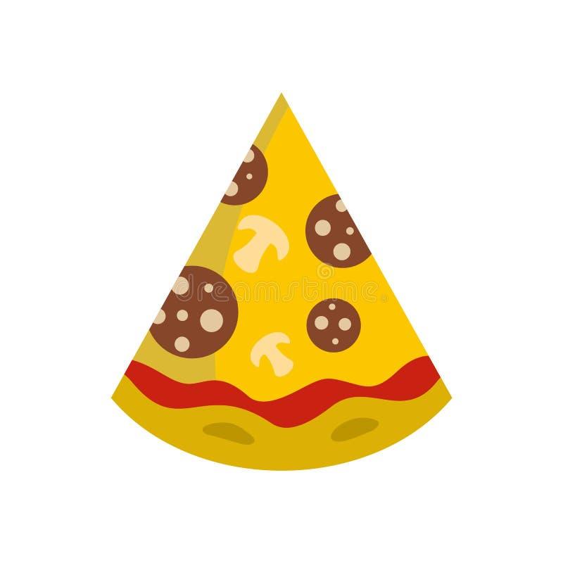 Icona della fetta della pizza, stile piano illustrazione vettoriale