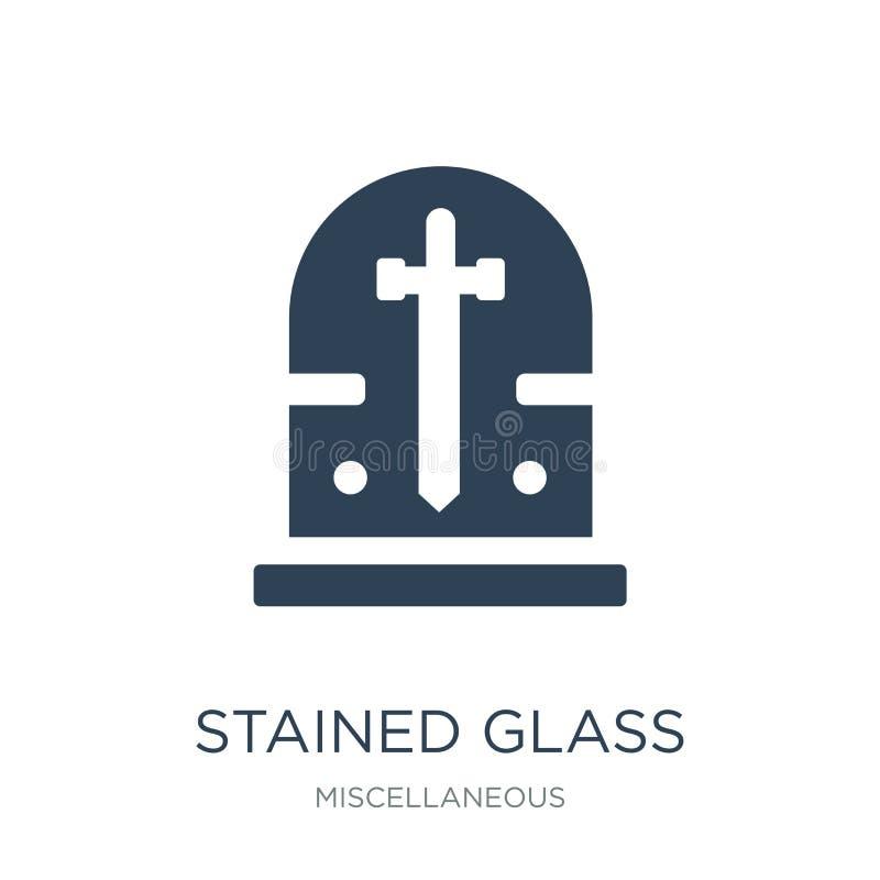 icona della finestra di vetro macchiato nello stile d'avanguardia di progettazione icona della finestra di vetro macchiato isolat illustrazione vettoriale