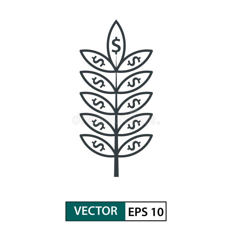 Icona della foglia con il simbolo del dollaro linea stile Isolato su bianco Illustrazione ENV 10 di vettore royalty illustrazione gratis