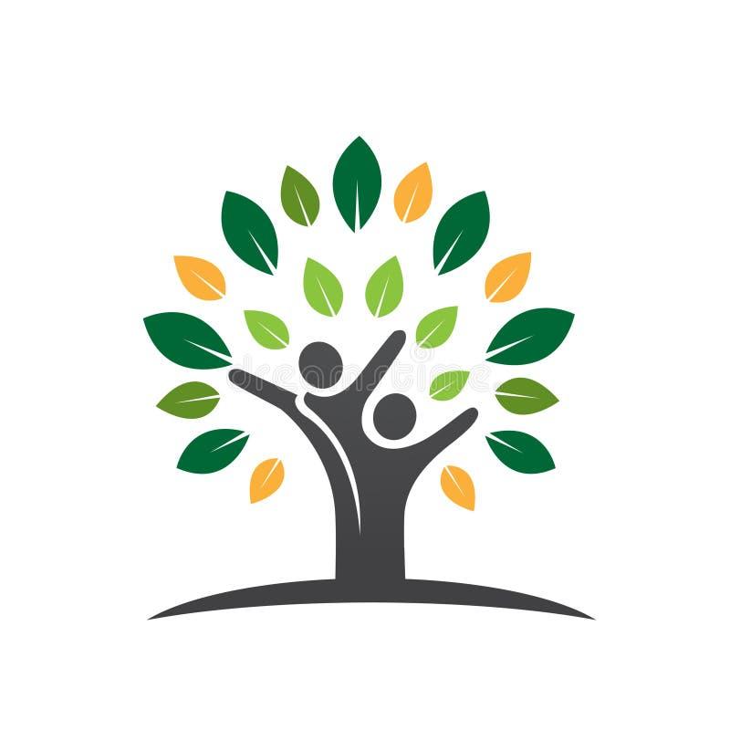 Icona della foglia dell'albero delle coppie di benessere illustrazione di stock