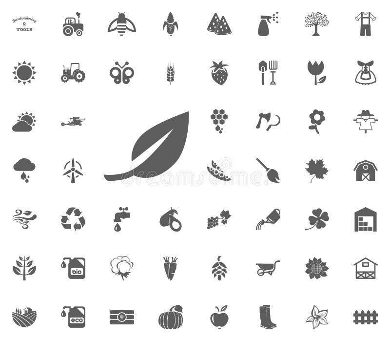 Icona della foglia Facendo il giardinaggio ed icone di vettore degli strumenti messe illustrazione vettoriale