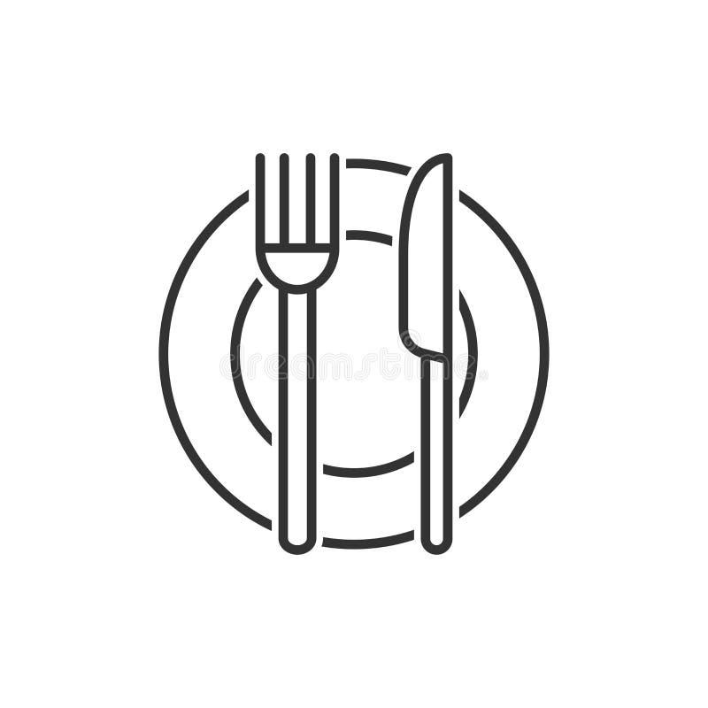 Icona della forcella, del coltello e del piatto nello stile piano Illustrazione di vettore del ristorante su fondo isolato bianco illustrazione vettoriale