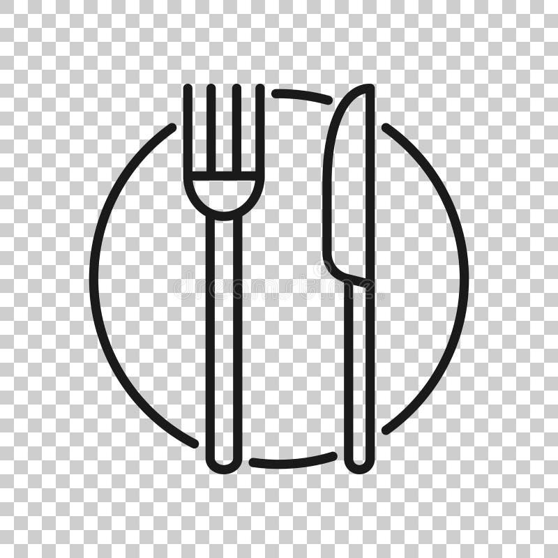 Icona della forcella, del coltello e del piatto nello stile trasparente Illustrazione di vettore del ristorante su fondo isolato  royalty illustrazione gratis