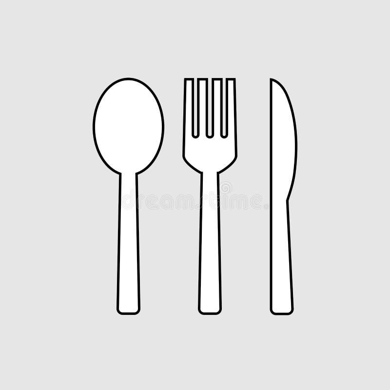 Icona della forchetta e del cucchiaio e del coltello illustrazione vettoriale