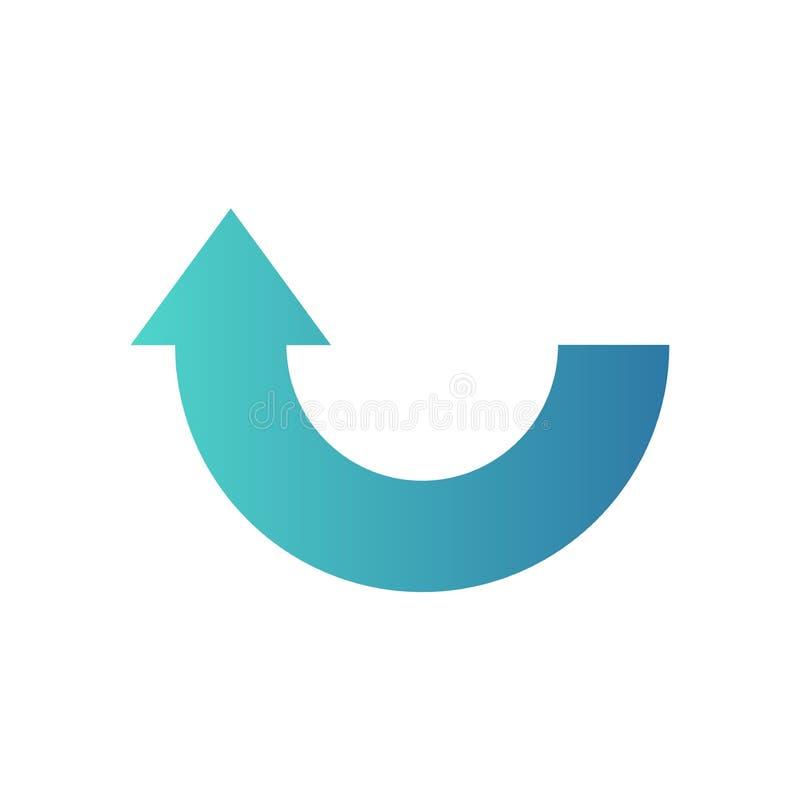 Icona della freccia del semicerchio o simbolo o bottone blu illustrazione vettoriale