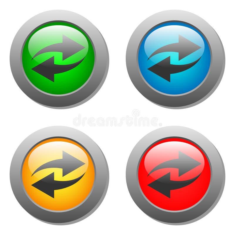 Icona della freccia messa sui bottoni di vetro royalty illustrazione gratis