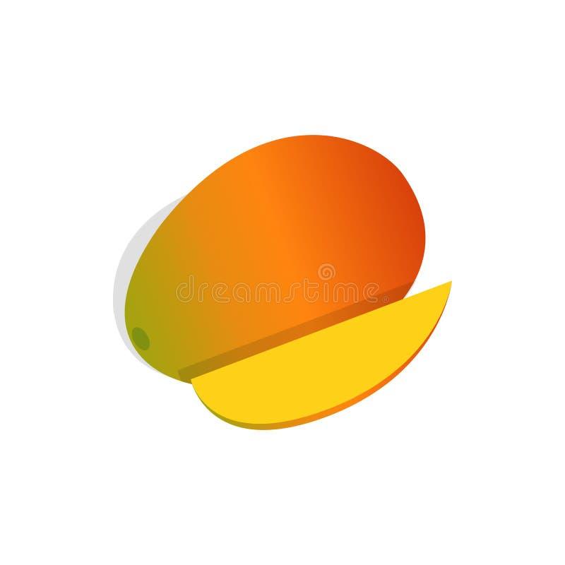Icona della frutta del mango, stile isometrico 3d illustrazione vettoriale