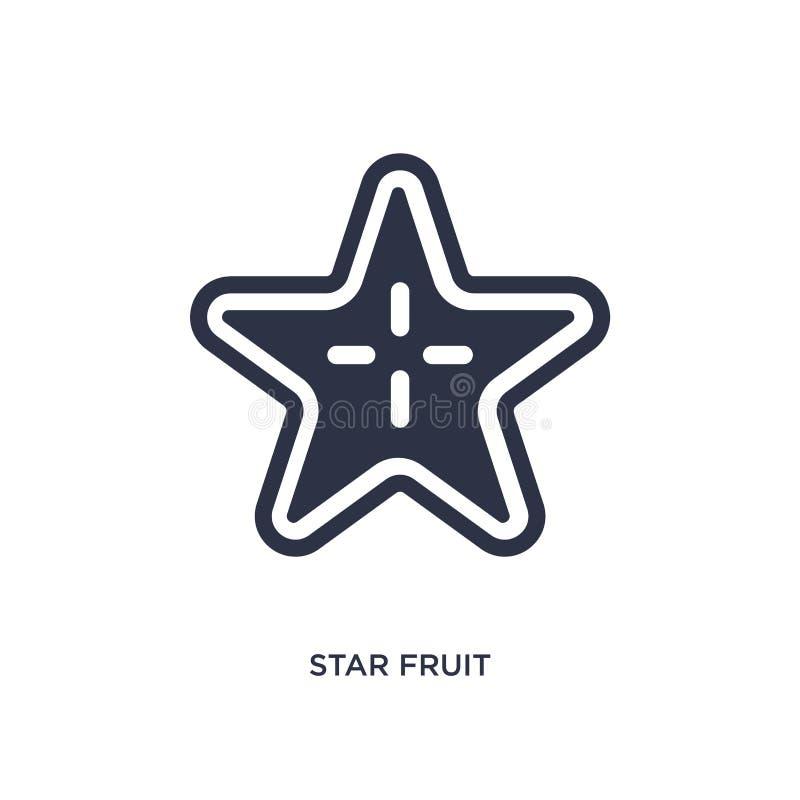 icona della frutta di stella su fondo bianco Illustrazione semplice dell'elemento dalla frutta e dal concetto delle verdure illustrazione di stock