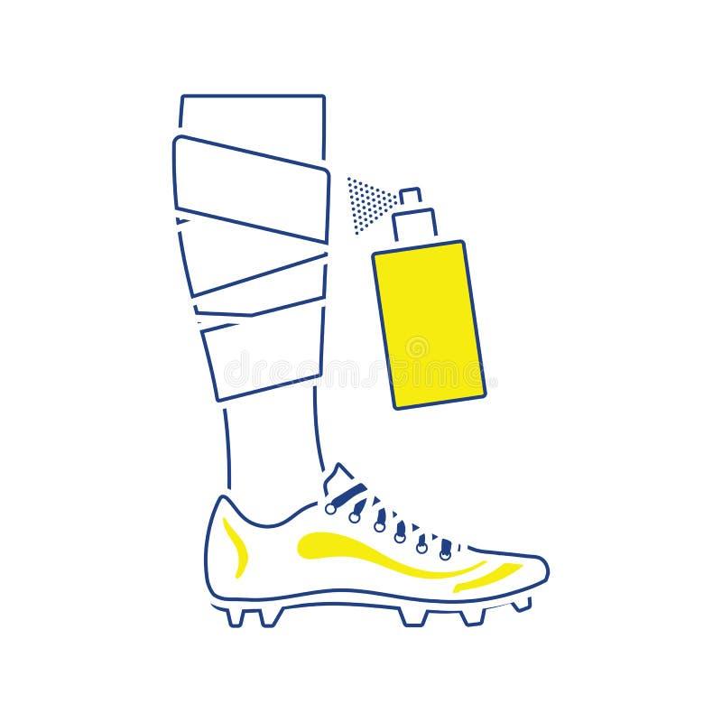 Icona della gamba bendata di calcio con l'anestetico dell'aerosol illustrazione vettoriale