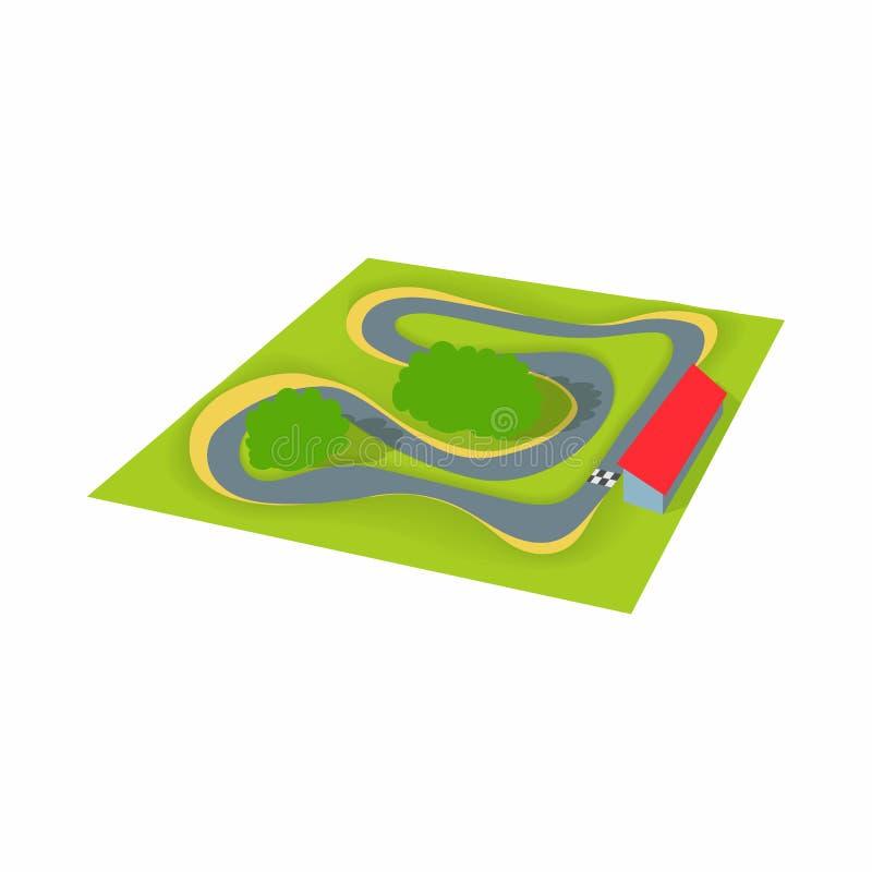 Icona della gara motociclistica su pista, stile del fumetto illustrazione vettoriale