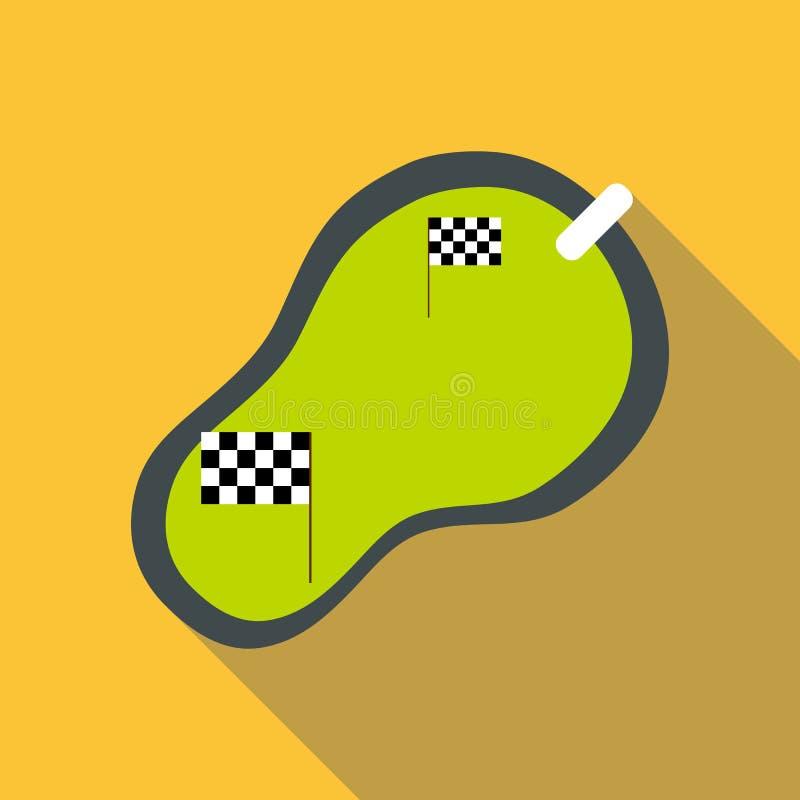 Icona della gara motociclistica su pista, stile piano illustrazione di stock