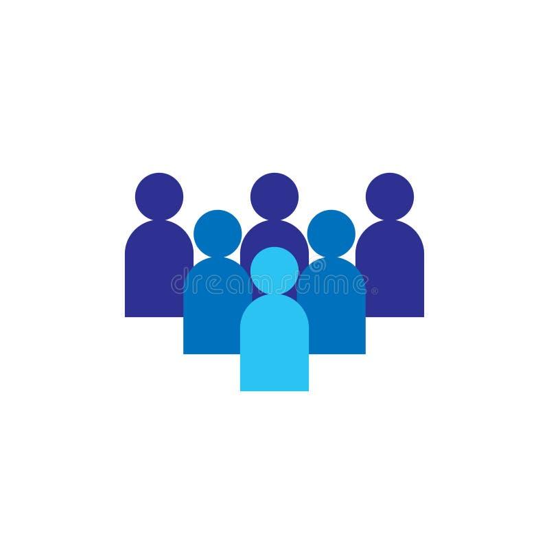 Icona della gente Gruppo corporativo di affari che lavora insieme Simbolo di logo del gruppo della rete sociale Segno della folla illustrazione di stock