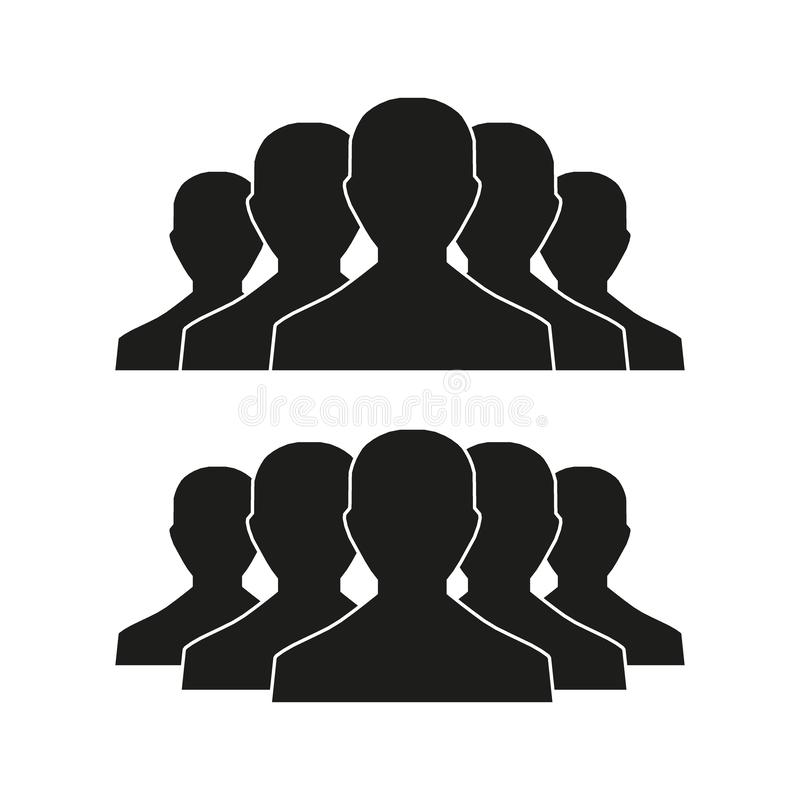 Icona della gente messa nello stile piano d'avanguardia isolato su fondo leggero con ombra Segni della folla Simbolo delle person royalty illustrazione gratis