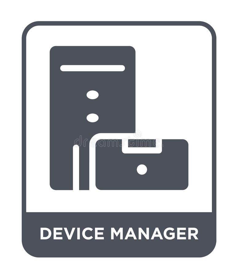 icona della gestione periferiche nello stile d'avanguardia di progettazione icona della gestione periferiche isolata su fondo bia illustrazione di stock