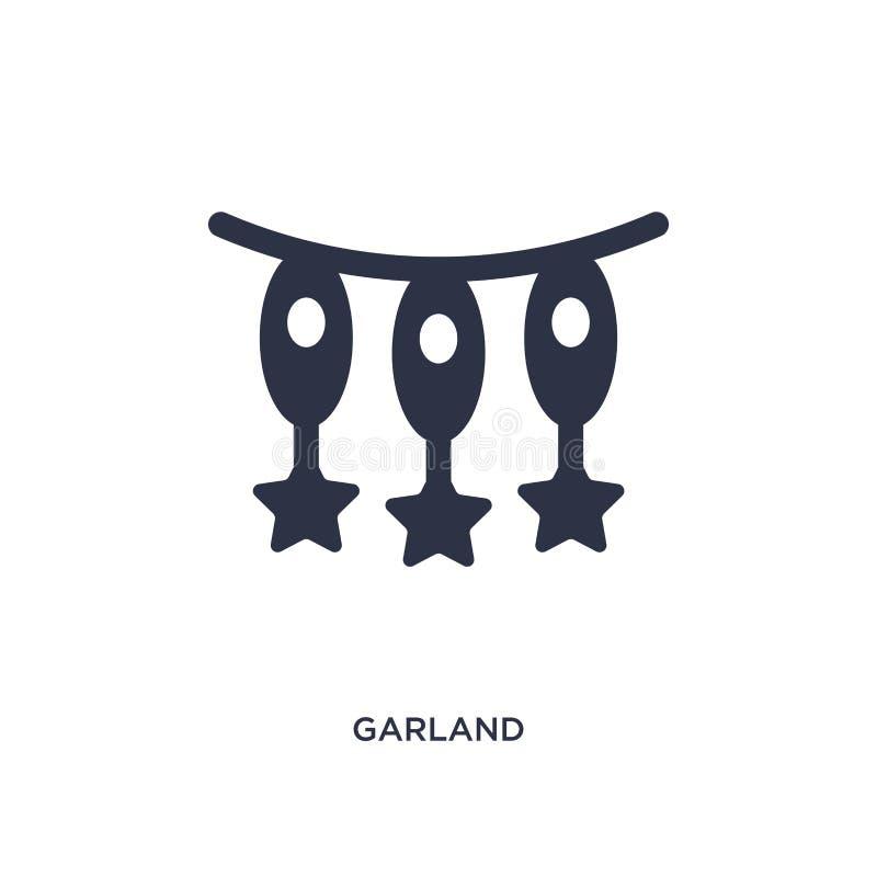 Icona della ghirlanda su fondo bianco Illustrazione semplice dell'elemento dal concetto di istruzione e di graduazione illustrazione vettoriale