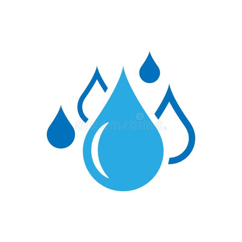 Icona della goccia di acqua nello stile piano Illustrazione di vettore della goccia di pioggia su w illustrazione di stock