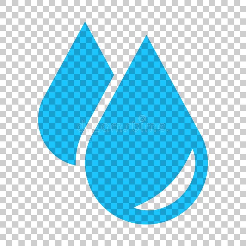 Icona della goccia di acqua nello stile piano Illustrazione di vettore della goccia di pioggia sulla i illustrazione vettoriale