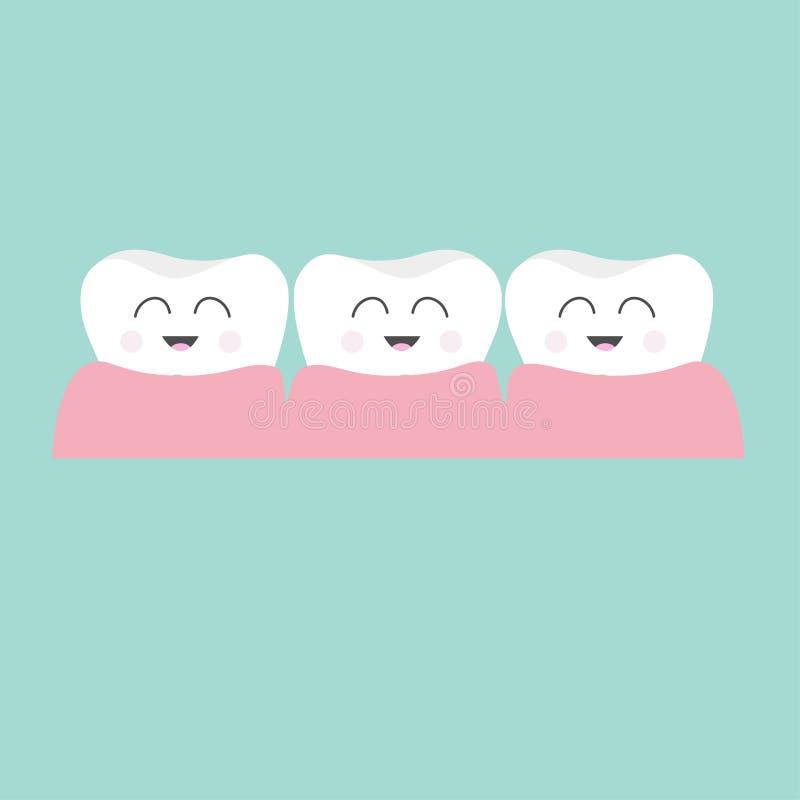 Icona della gomma del dente Serie di caratteri sorridente del fumetto divertente sveglio tre Igiene dentale orale Cura dei denti  illustrazione vettoriale