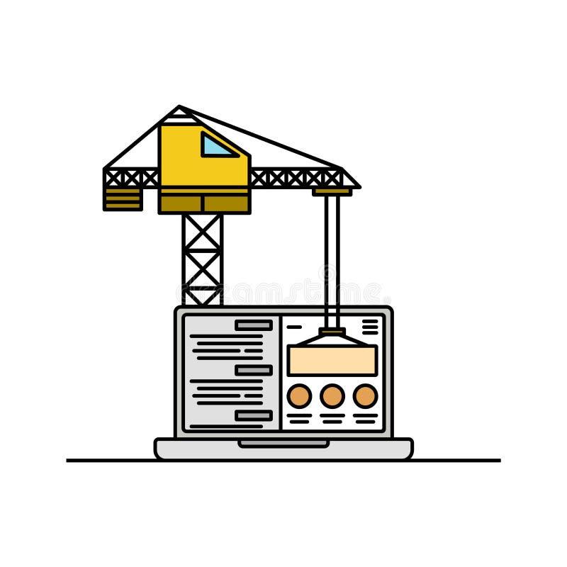Icona della gru e del computer portatile, linea sottile Sito Web in modello in costruzione dell'elemento della pagina isolato illustrazione di stock