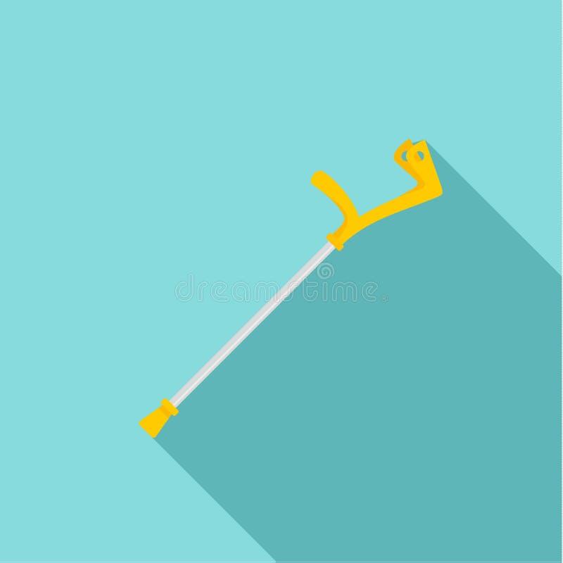 Icona della gruccia del gomito, stile piano illustrazione di stock