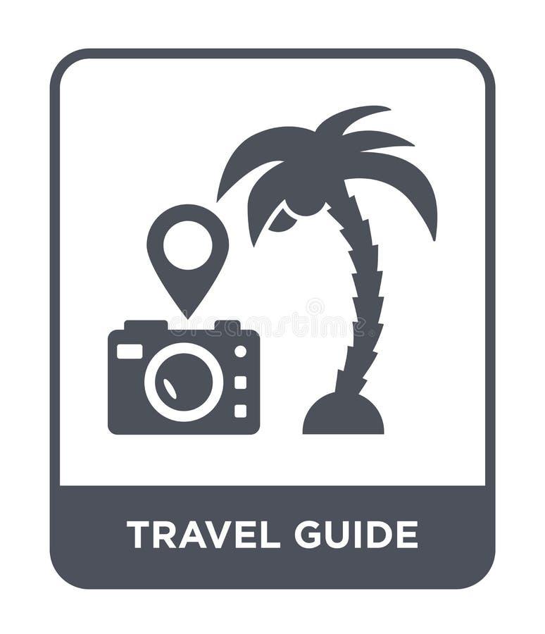 icona della guida di viaggio nello stile d'avanguardia di progettazione icona della guida di viaggio isolata su fondo bianco icon illustrazione di stock
