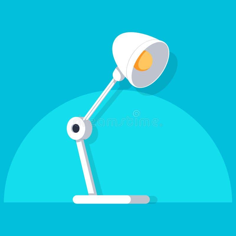Icona della lampada da tavolo, stile piano di progettazione Illustrazione moderna di vettore della lampada di scrittorio royalty illustrazione gratis