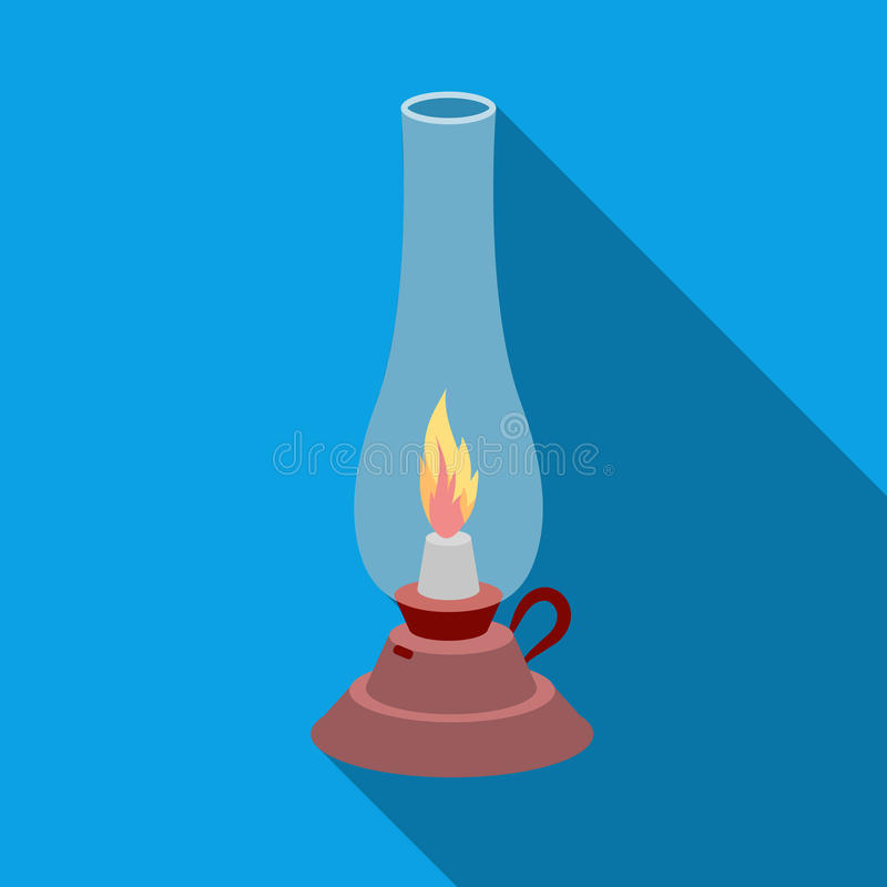 Icona della lampada di cherosene nello stile piano isolata su fondo bianco Illustrazione di vettore delle azione di simbolo di so illustrazione vettoriale
