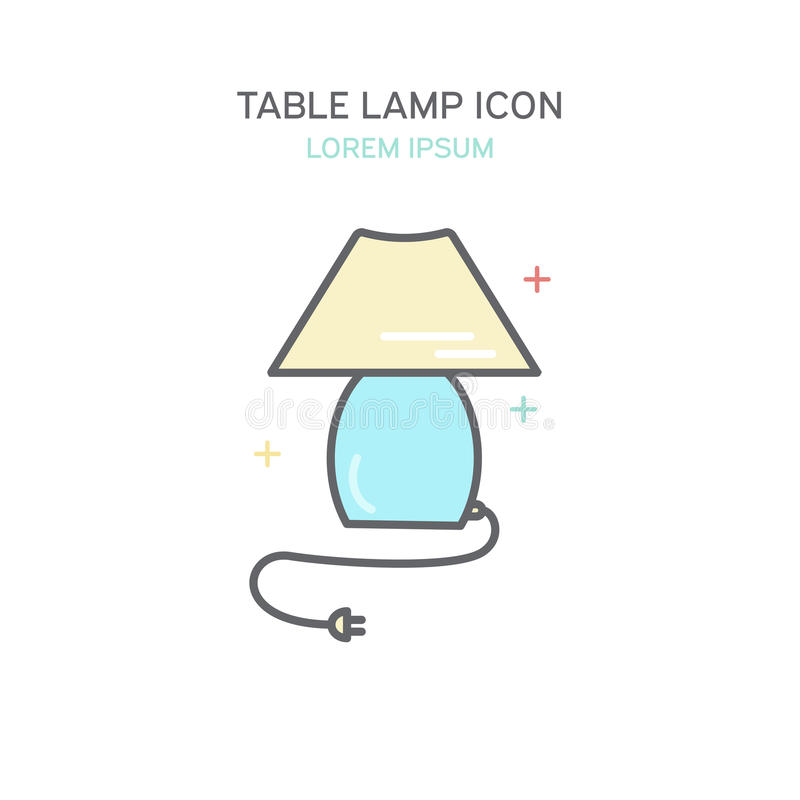 Icona della lampada di colore della Tabella Illustrazione isolata nella linea stile illustrazione di stock