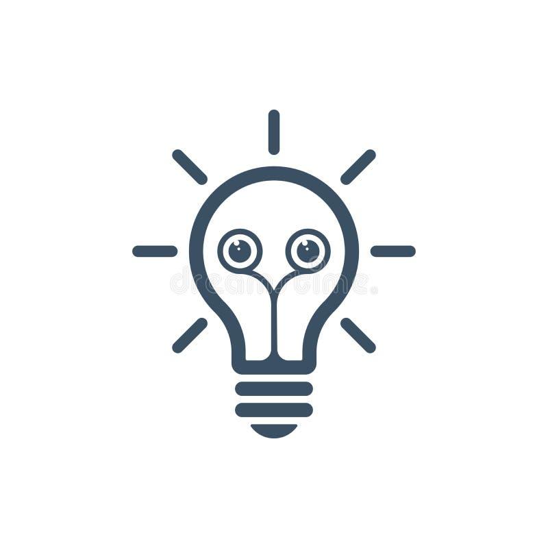 Icona della lampadina con gli occhi illustrazione di stock