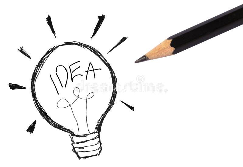Icona della lampadina con il concetto dello schizzo di idea fotografie stock