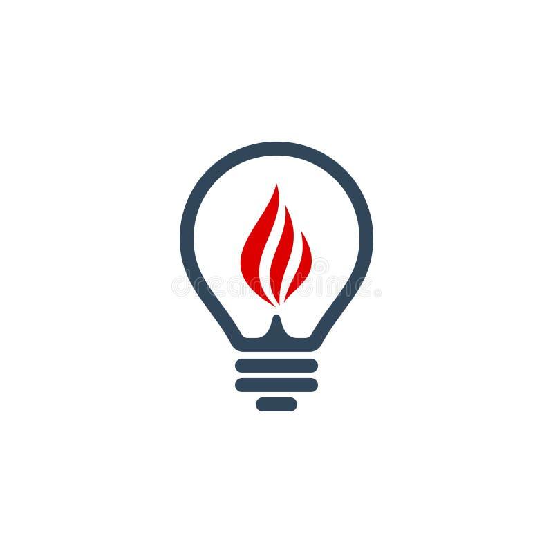 Icona della lampadina con il segno della fiamma illustrazione di stock