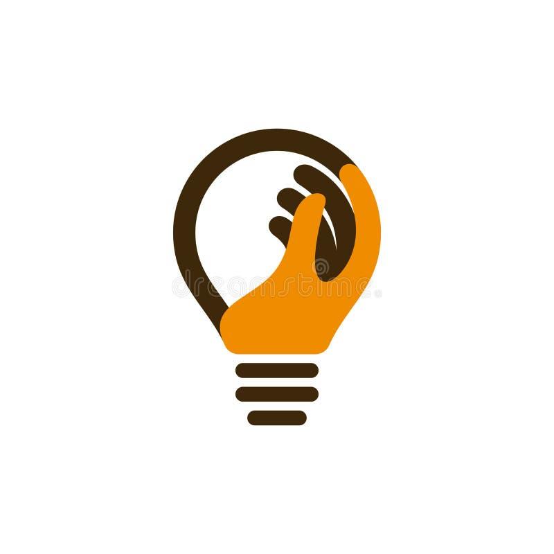 Icona della lampadina con la mano umana royalty illustrazione gratis