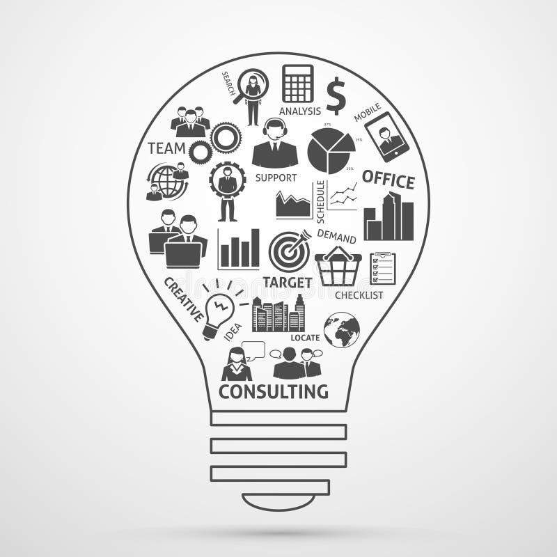 Icona della lampadina di concetto della gestione del gruppo di affari royalty illustrazione gratis