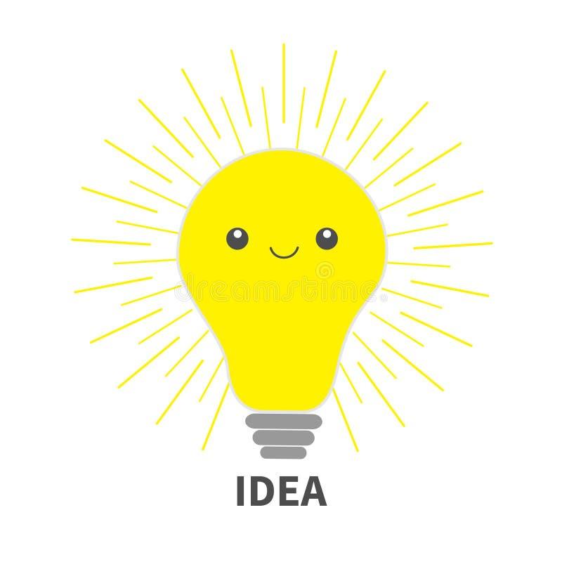 Icona della lampadina di idea con il fronte felice Linea brillante effetto rotondo Personaggio dei cartoni animati sveglio Accend royalty illustrazione gratis