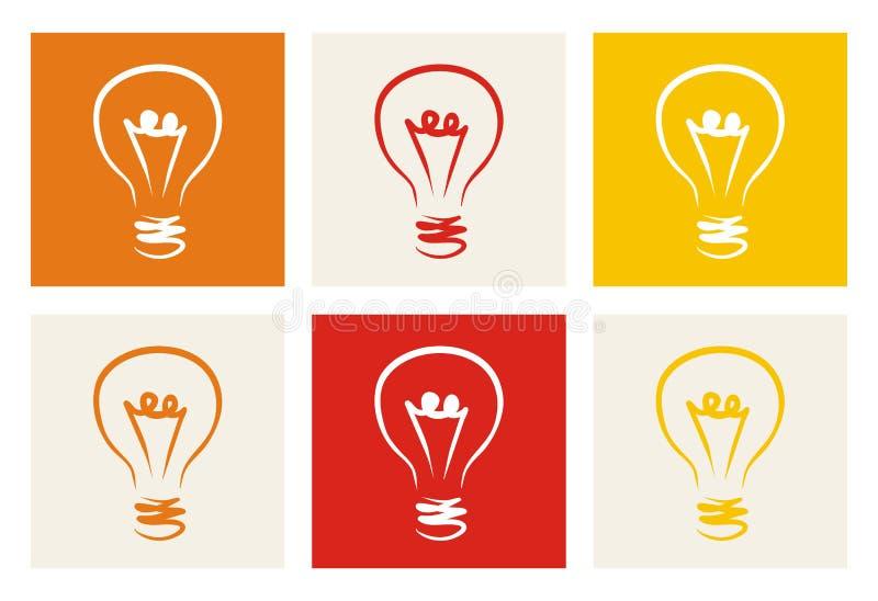 Icona della lampadina - insieme variopinto disegnato a mano di vettore di scarabocchio royalty illustrazione gratis