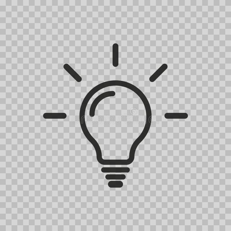 Icona della lampadina isolata su fondo bianco Simbolo di illuminazione, elettrico Segno di idea, concetto di pensiero nello stile illustrazione di stock