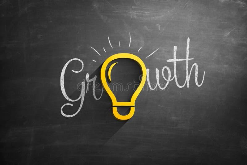 Icona della lampadina sulla lavagna con il testo di crescita fotografia stock